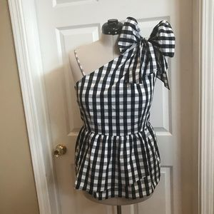 Who what wear gingham one shoulder bow peplum top
